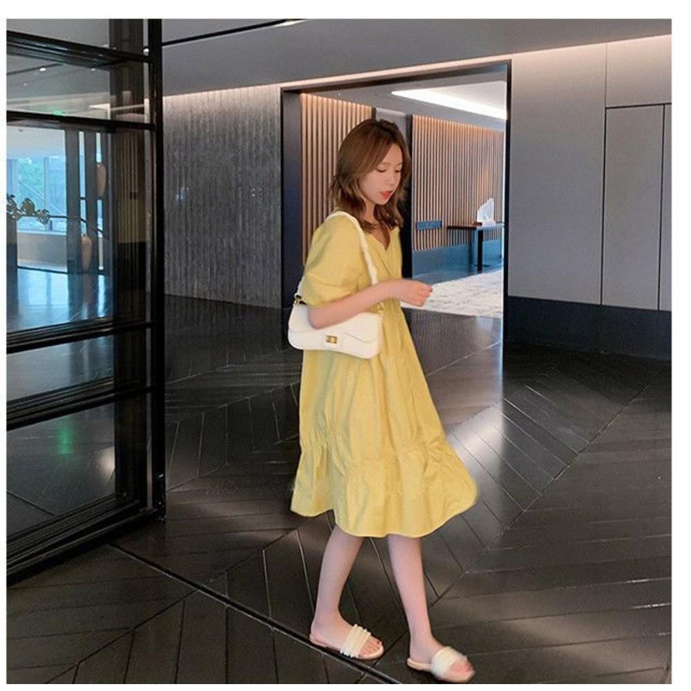 泡泡袖 V領 洋裝【D9206】 韓系 皺褶 泡泡短袖 純色 洋裝  連衣裙