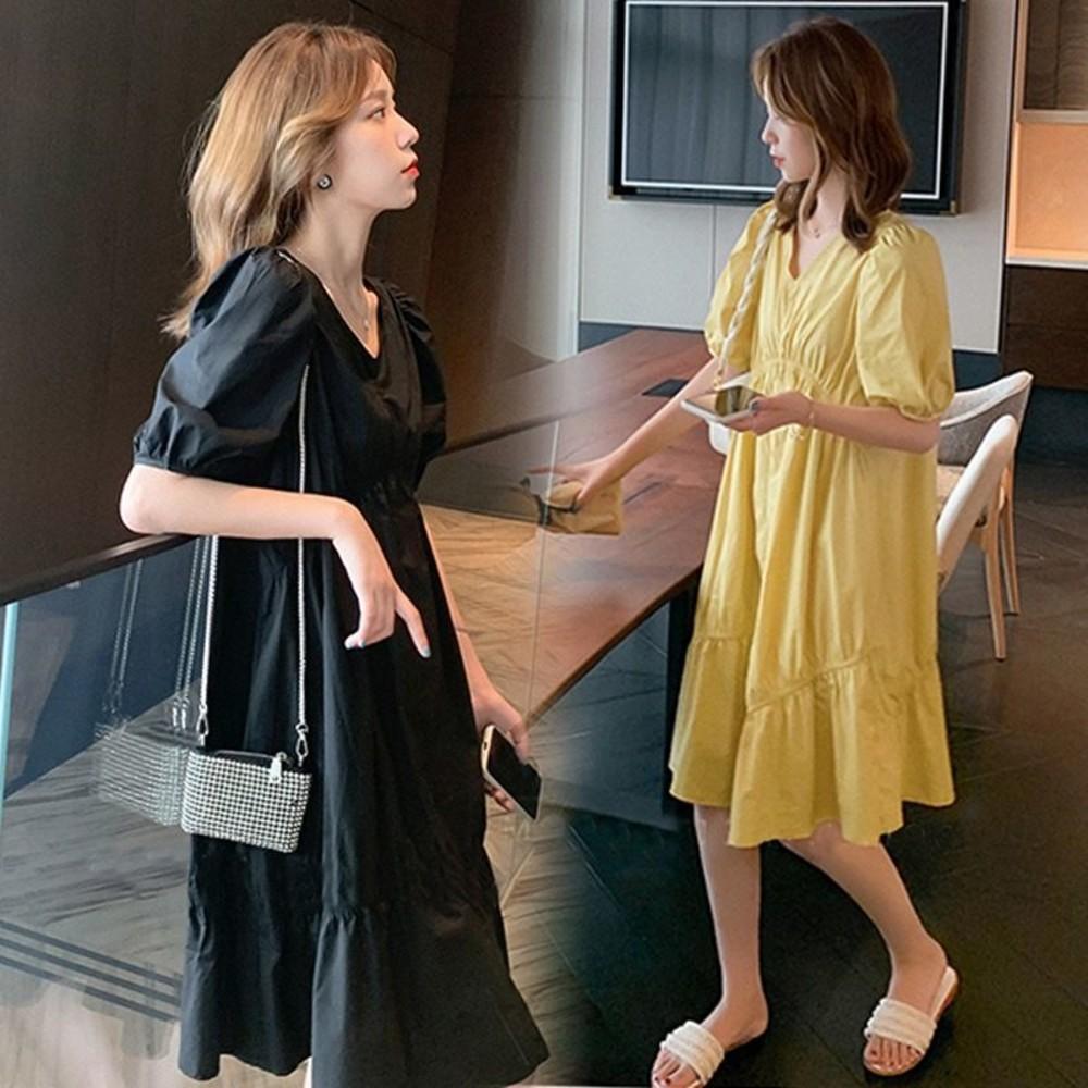 泡泡袖 V領 洋裝【D9206】 韓系 皺褶 泡泡短袖 純色 洋裝  連衣裙 封面照片