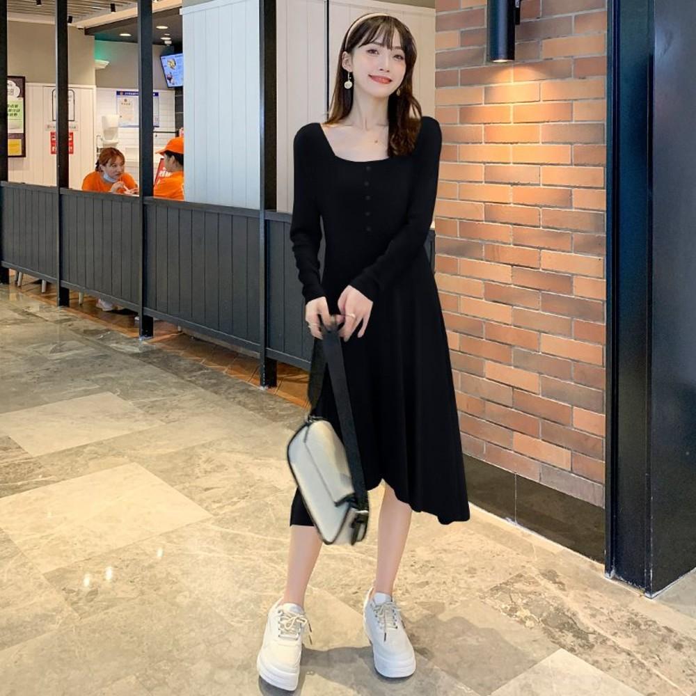 韓系 實拍 方領 開扣 洋裝【D8221】不規則 裙襬 長袖 顯瘦 連衣裙