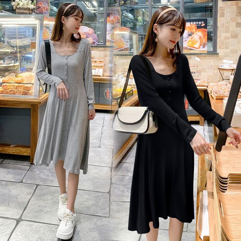 D8221-韓系 實拍 方領 開扣 洋裝【D8221】不規則 裙襬 長袖 顯瘦 連衣裙