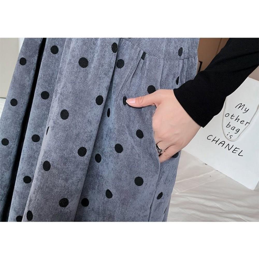 韓系 實拍 波點 長裙【D8227】燈芯絨 吊帶長裙 吊帶裙 背心長裙 不含上衣