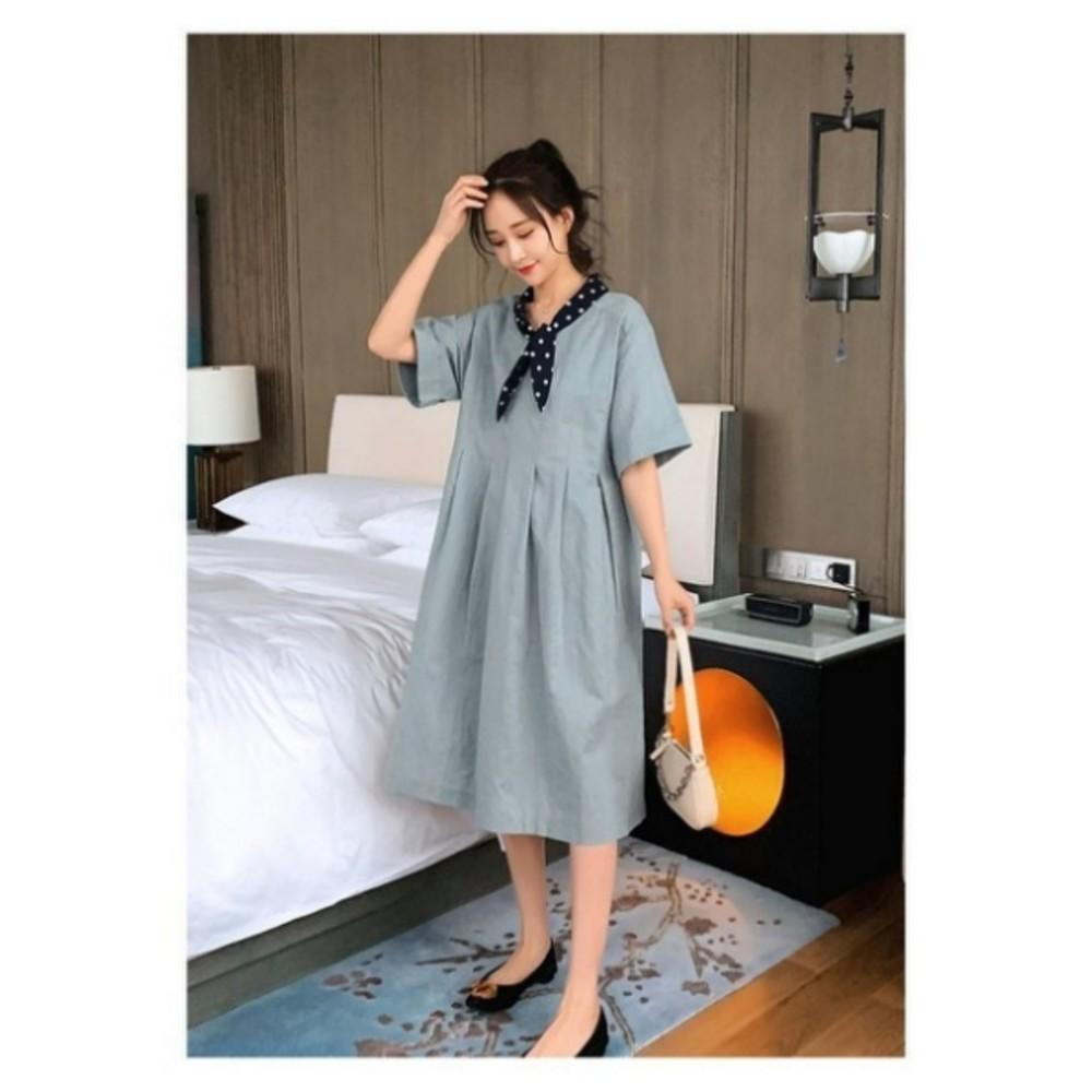 韓系落肩洋裝 【D8236】 波點 領結 短袖洋裝 孕婦裝 中袖 寬鬆 孕婦洋裝 長裙