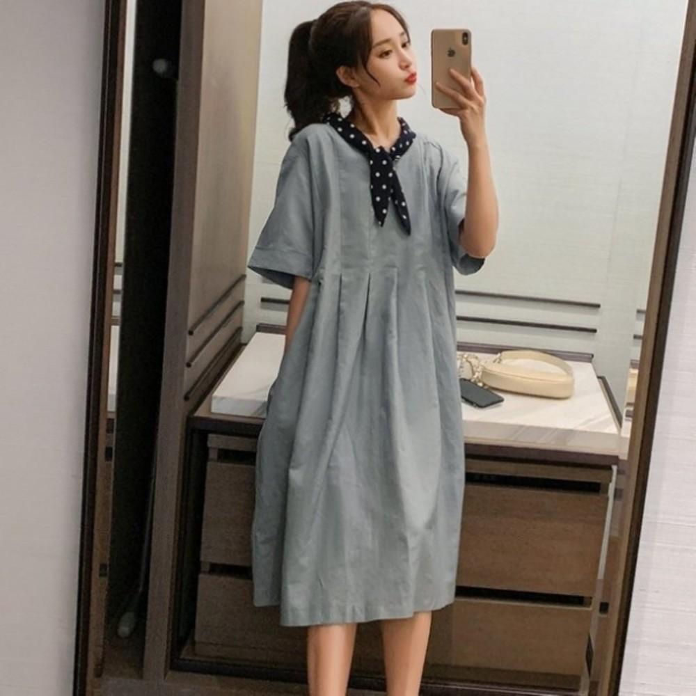 D8236-韓系落肩洋裝 【D8236】 波點 領結 短袖洋裝 孕婦裝 中袖 寬鬆 孕婦洋裝 長裙