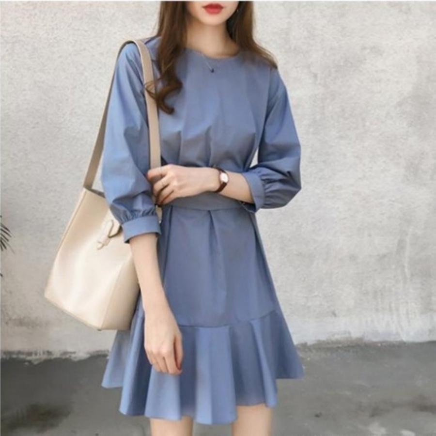 韓系 魚尾 洋裝 【D8244】 七分袖 韓 蝴蝶結 腰帶 收腰 顯瘦 洋裝 中袖 魚尾裙