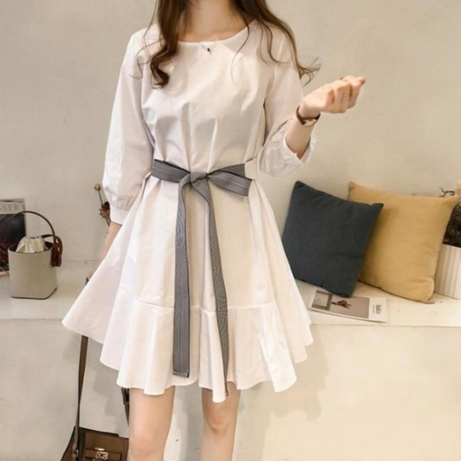 D8244-韓系 魚尾 洋裝 【D8244】 七分袖 韓 蝴蝶結 腰帶 收腰 顯瘦 洋裝 中袖 魚尾裙