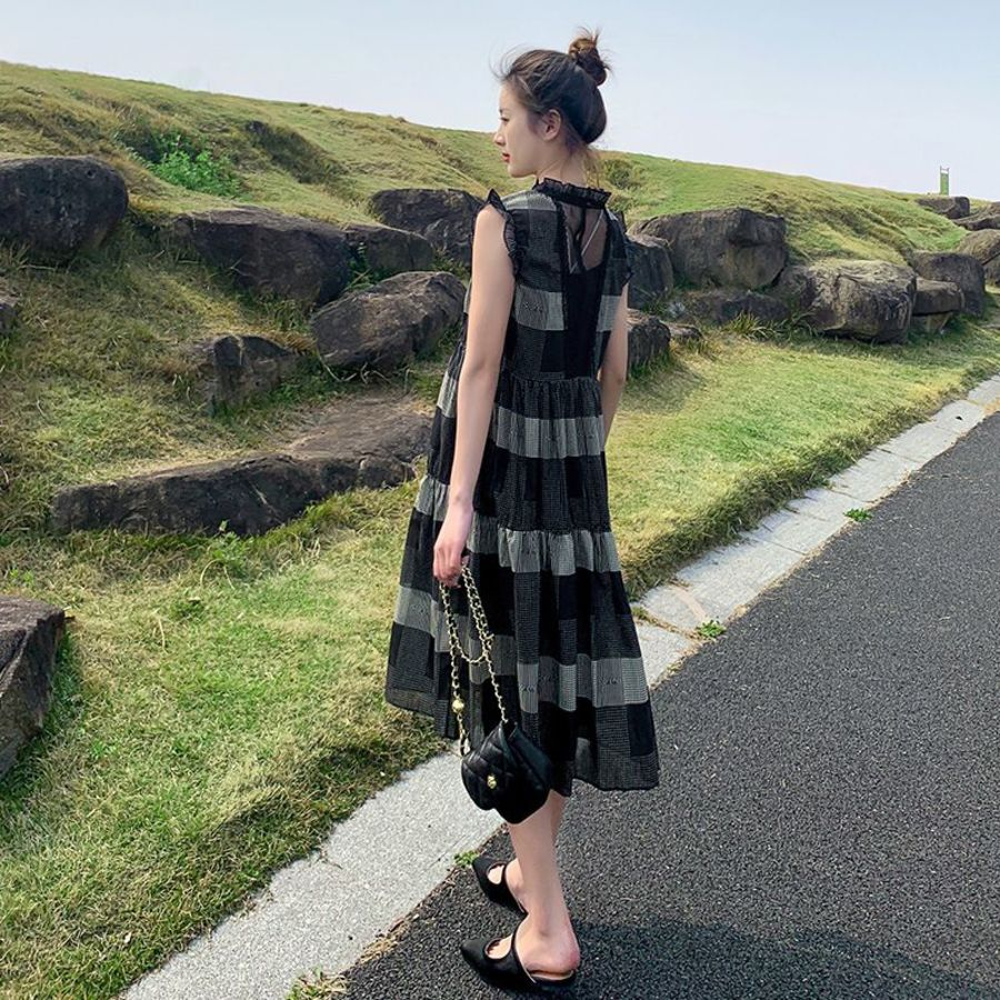 實拍 兩件式 雪紡 洋裝【D8312】無袖 韓系 格子 修身 連身裙 格紋 質感 小洋裝