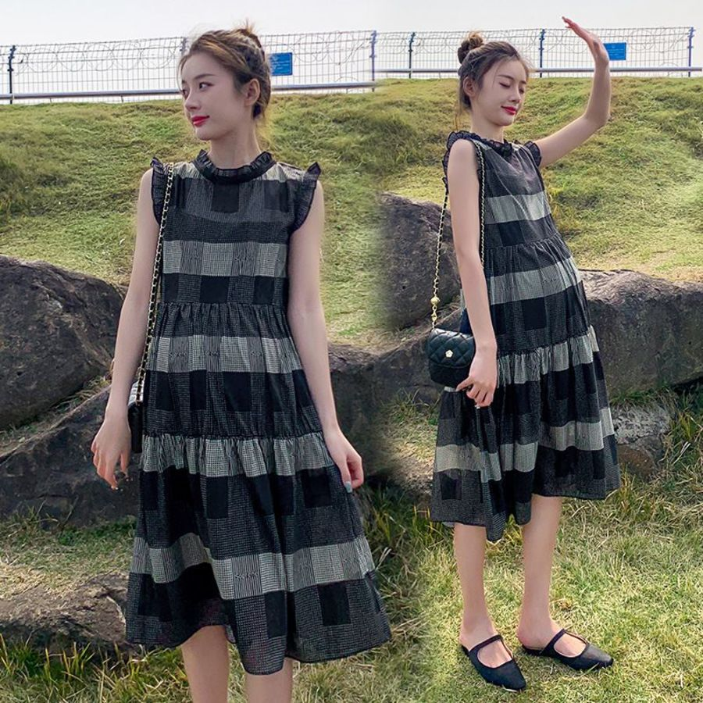 實拍 兩件式 雪紡 洋裝【D8312】無袖 韓系 格子 修身 連身裙 格紋 質感 小洋裝 封面照片