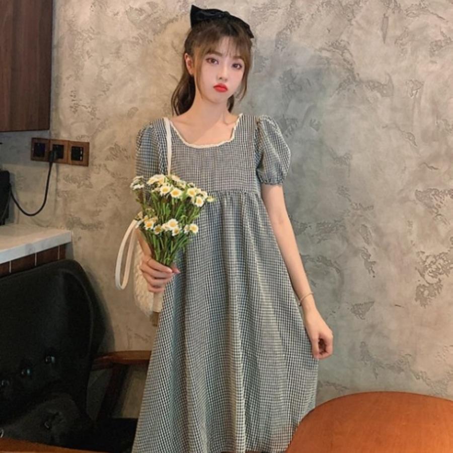韓式 格紋 洋裝 【D8321】 格子 優雅 短袖 小洋裝 孕婦裝 正反兩穿