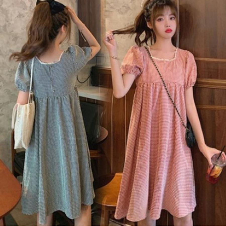 韓式 格紋 洋裝 【D8321】 格子 優雅 短袖 小洋裝 孕婦裝 正反兩穿 封面照片