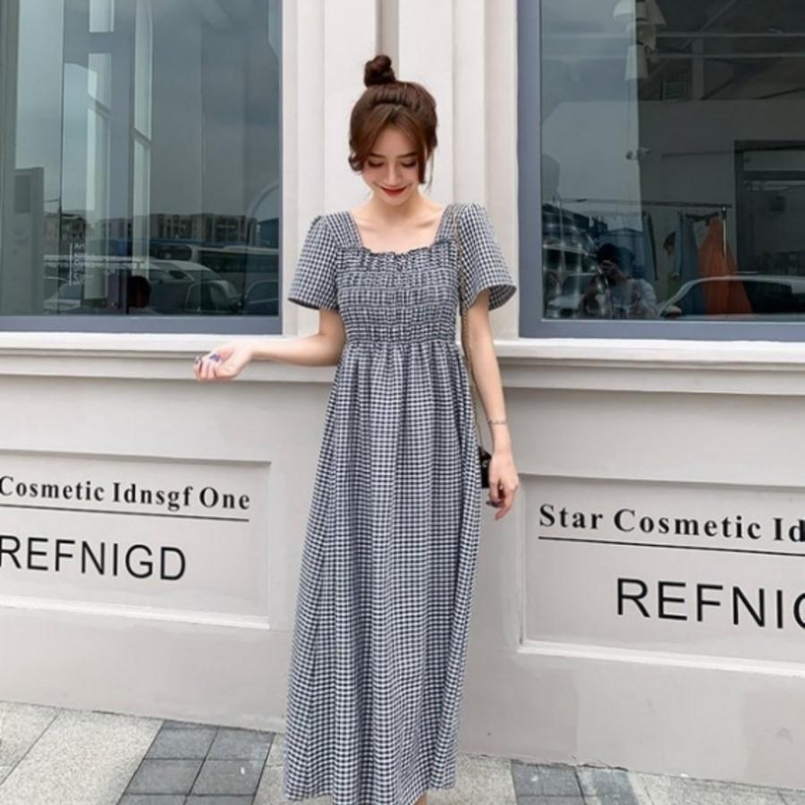 韓格紋長裙 【D8322】 格子 修身 顯瘦 高腰 長洋裝 孕婦裝 長裙
