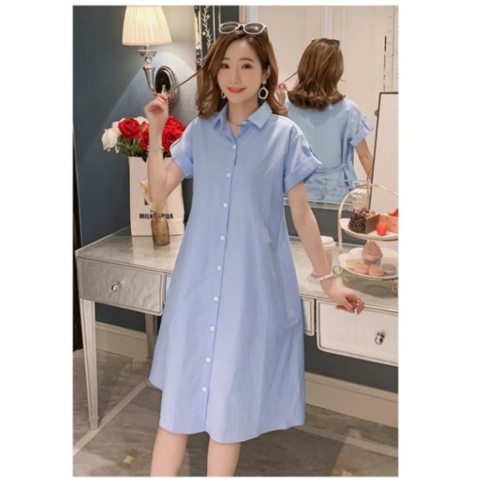 優雅洋裝 【D8375】 純棉 翻領 襯衫洋裝 開扣 短袖 孕婦 孕婦裝 孕婦洋裝