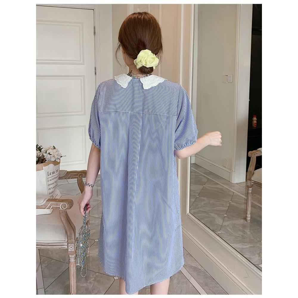 韓系 實拍 條紋 格紋  【D8397】蕾絲 翻領 包袖 洋裝 連身裙