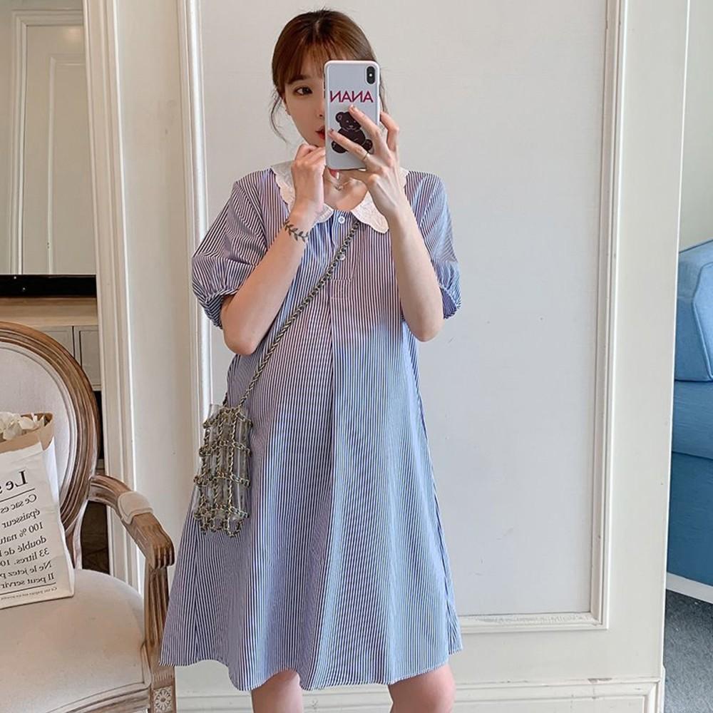 D8397 - 韓系 實拍 條紋 格紋  【D8397】蕾絲 翻領 包袖 洋裝 連身裙