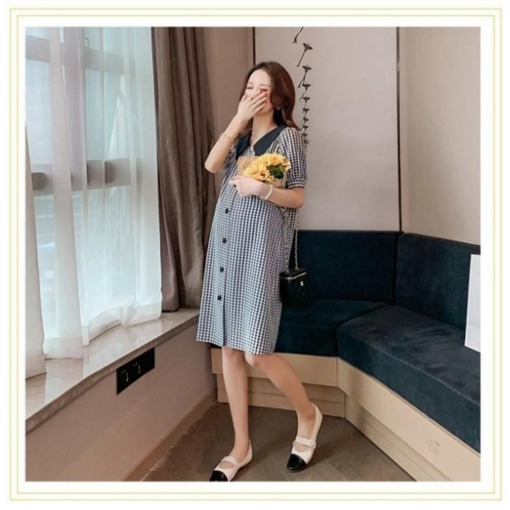翻領洋裝 【D8423】 格紋 短袖 襯衫洋裝 孕婦 洋裝 孕婦洋裝 開扣 孕婦裝