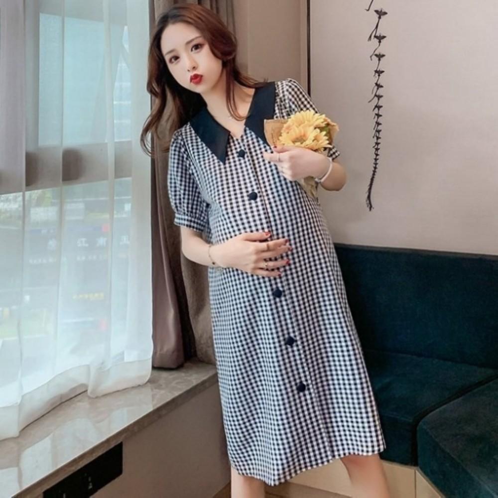 翻領洋裝 【D8423】 格紋 短袖 襯衫洋裝 孕婦 洋裝 孕婦洋裝 開扣 孕婦裝 封面照片