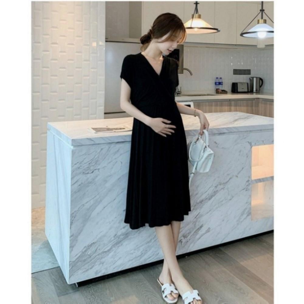 韓式 法式 優雅 V領 洋裝 【D8426】 純色 莫代爾 親膚 短袖 小洋裝 孕婦裝