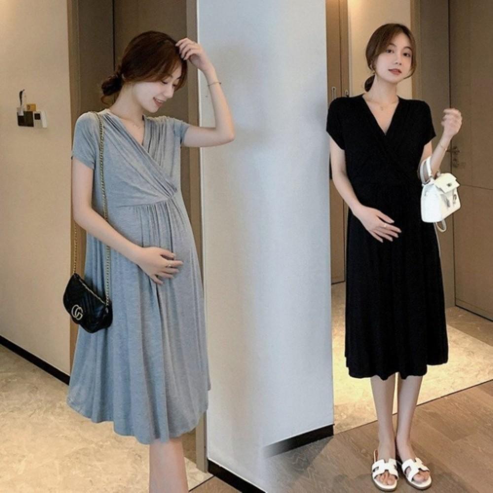 D8426-韓式 法式 優雅 V領 洋裝 【D8426】 純色 莫代爾 親膚 短袖 小洋裝 孕婦裝