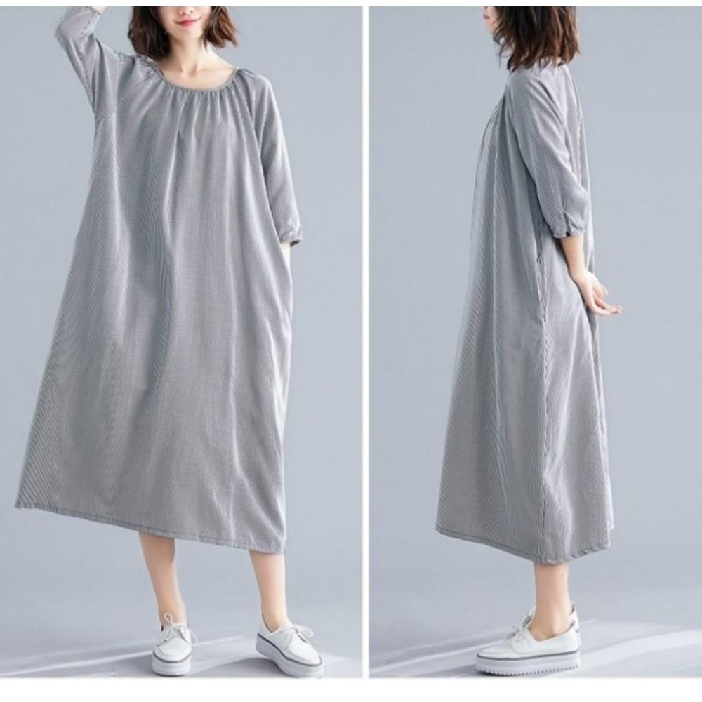 文藝洋裝【D8500】 七分袖 細格紋 文藝 長袖 寬鬆 洋裝 孕婦裝 長裙 長洋裝