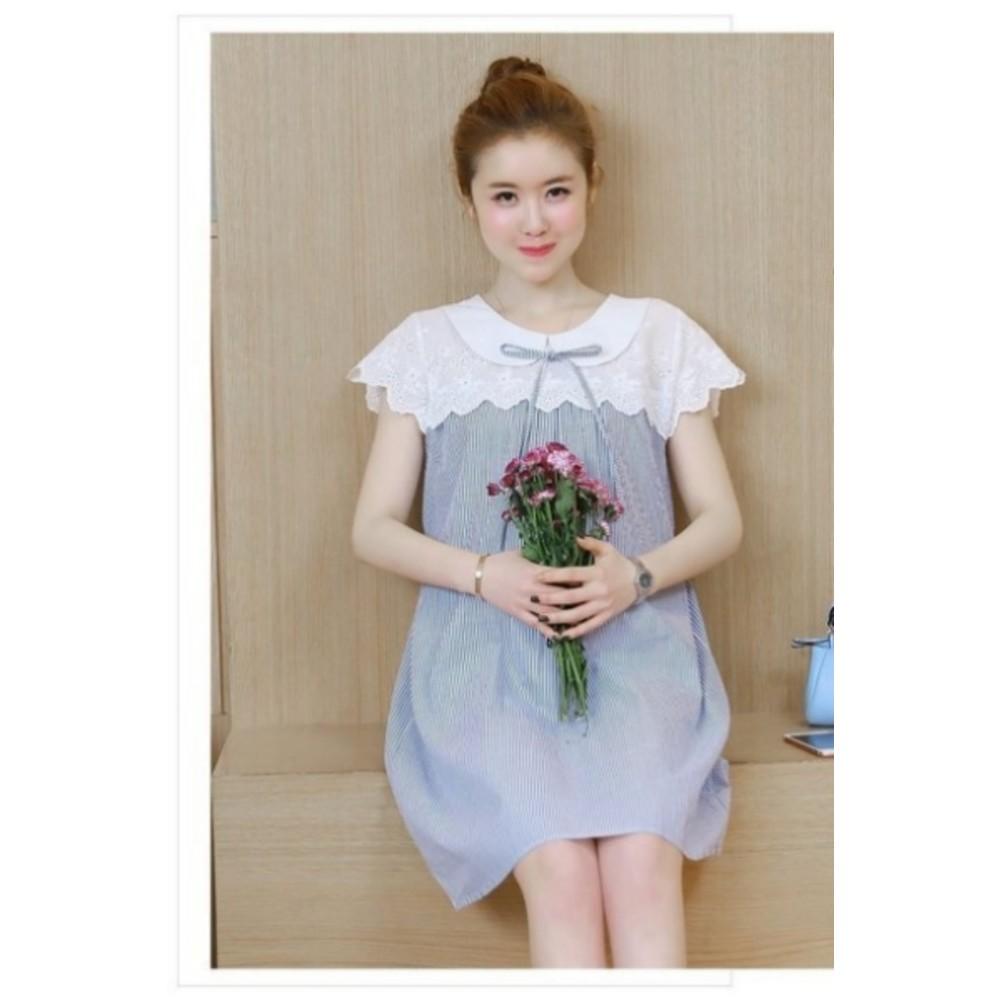 韓國短袖洋裝 【D8599】 條紋 拼接 布蕾絲 短袖 孕婦裝 連身裙 孕婦洋裝