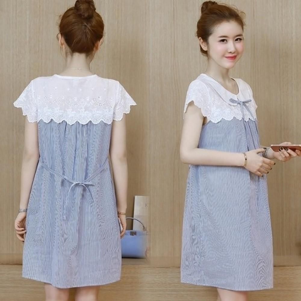 D8599-韓國短袖洋裝 【D8599】 條紋 拼接 布蕾絲 短袖 孕婦裝 連身裙 孕婦洋裝
