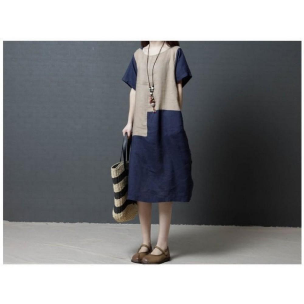 短袖棉麻洋裝 【D8753】 文藝 簡約 短袖 超薄 撞色 棉麻 中大尺碼 連身裙 寬鬆 孕婦裝