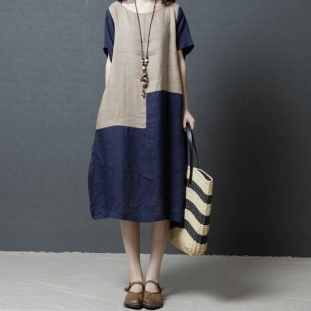 D8753-短袖洋裝 【D8753】 簡約 短袖 超薄 撞色 棉麻 中大尺碼 連身裙 寬鬆 文藝 孕婦裝