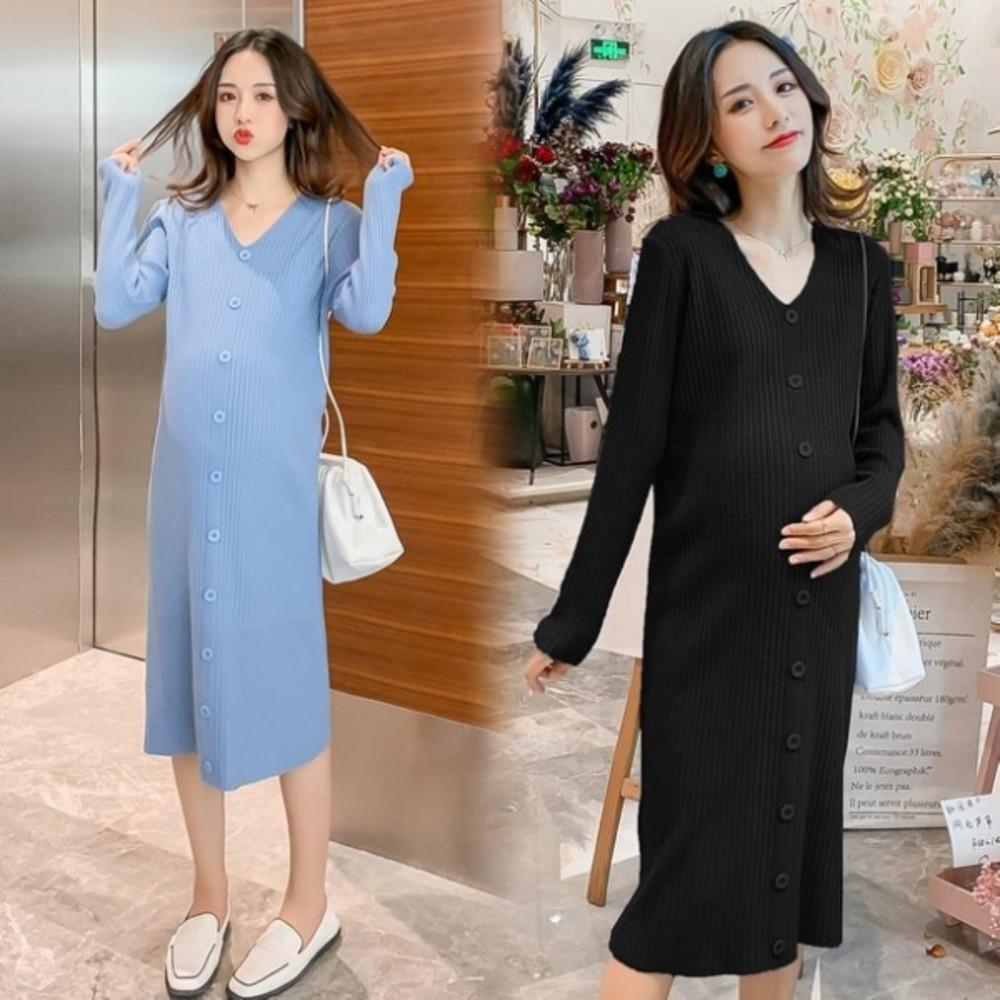 D8755 - 修身 超質感 針織裙 【D8755】孕婦裙 V領 針織 長袖 孕婦連衣裙 毛衣裙