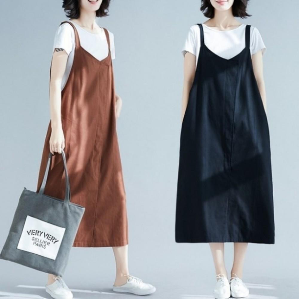 D8801 - 背心洋裝 【D8801】 純色 背心裙 背心長裙 吊帶裙 孕婦裝 孕婦洋裝