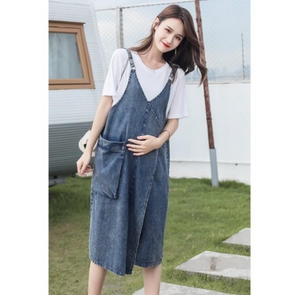 吊帶洋裝 【D8813】 牛仔 吊帶裙 牛仔裙 背心裙 洋裝 孕婦裝 V領 背帶裙
