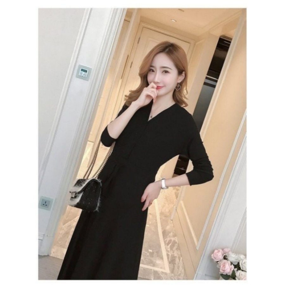 韓系 洋裝 【D8866】 高質感 坑條棉 長袖 V領 開扣 修身 孕婦裝洋裝 長裙