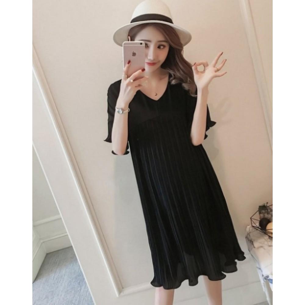 韓國洋裝 【D8883】 傘狀 百褶 喇叭袖 雪紡裙 短袖 連身裙 孕婦裝洋裝