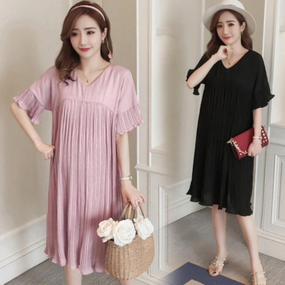 韓國洋裝 【D8883】 傘狀 百褶 喇叭袖 雪紡裙 短袖 連身裙 孕婦裝洋裝 封面照片