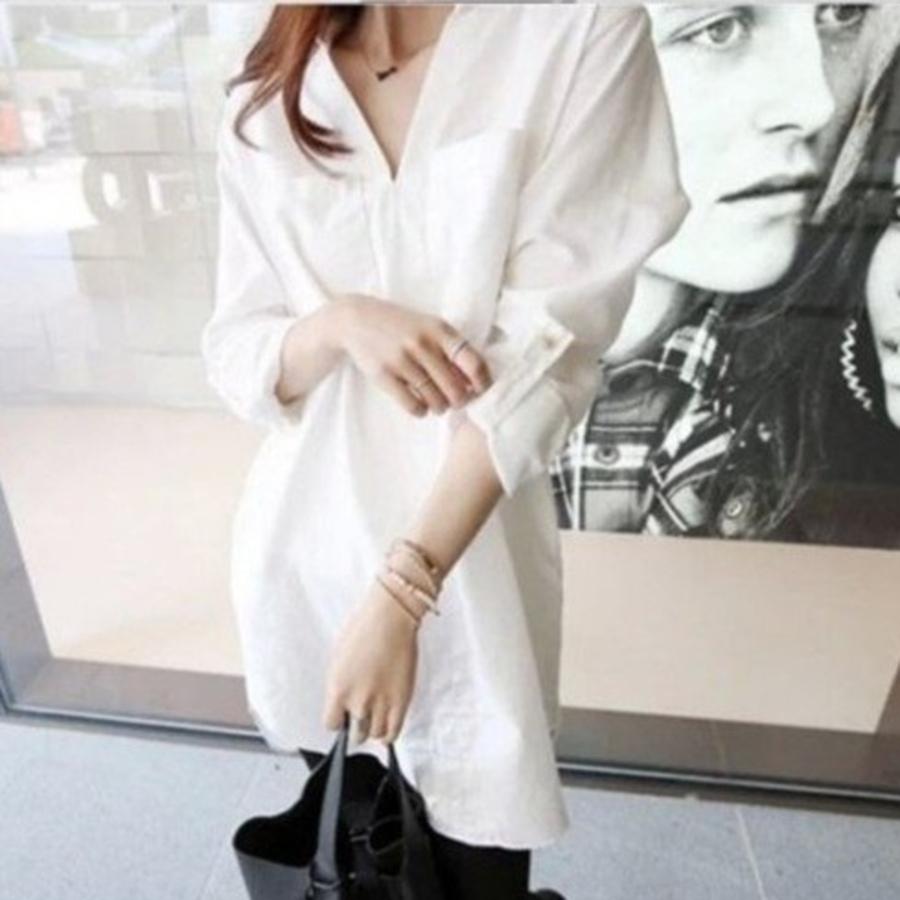 舒適棉質洋裝 【D8907NS】 長袖 V領 孕婦襯衫洋裝 長版衣 孕婦裝