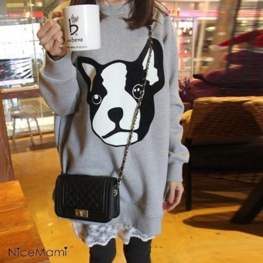 D9025-LOVELY洋裝 【D9025】 狗狗 長袖 加大 寬鬆 長版T 孕婦裝 蕾絲 拼接洋裝