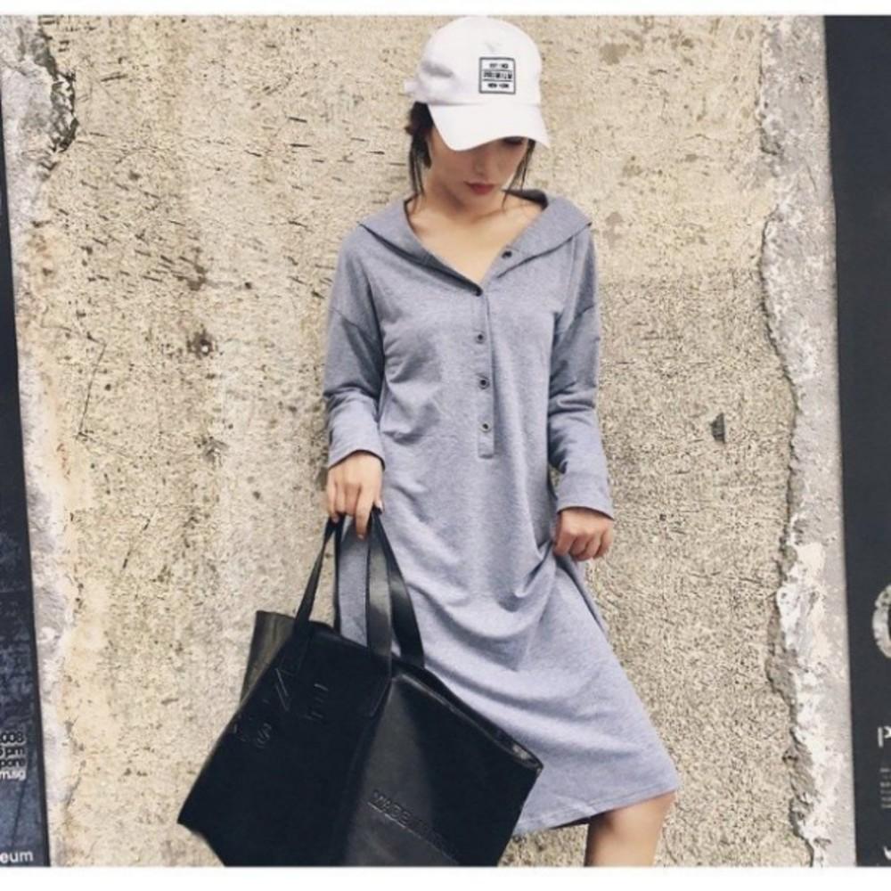 韓系洋裝 【D9089】 連帽 寬鬆 開扣 長袖 長裙 孕婦裝 長洋裝 加大碼 開襟 哺乳裝