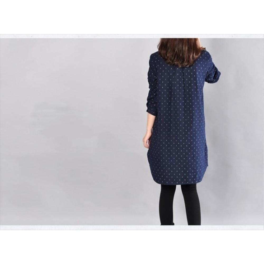 自在氛圍洋裝 【D9107】 法蘭絨 保暖 蝴蝶結 長袖 孕婦裝 長版襯衫 長版衣 襯衫洋裝
