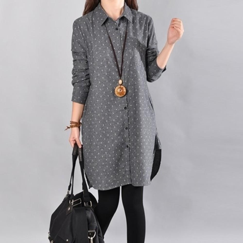 D9107-自在氛圍洋裝 【D9107】 法蘭絨 保暖 蝴蝶結 長袖 孕婦裝 長版襯衫 長版衣 襯衫洋裝