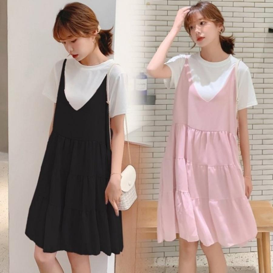 D9126-真兩件洋裝 【D9126】 V領 短袖 二件式 吊帶裙 背心裙 孕婦裝 孕婦 洋裝