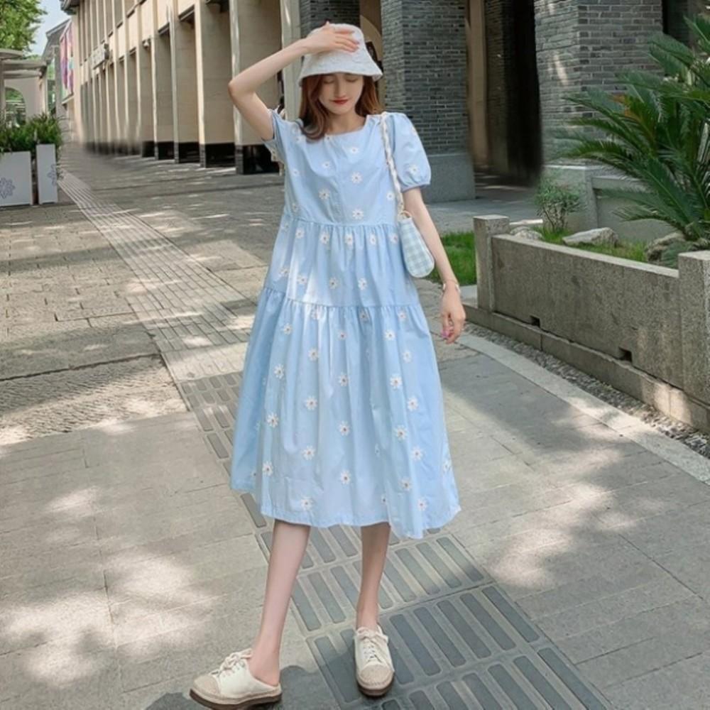 韓系 顯瘦泡泡袖洋裝 【D9149】 清新 小雛菊 短袖 純棉 親膚 孕婦裝 洋裝 長裙