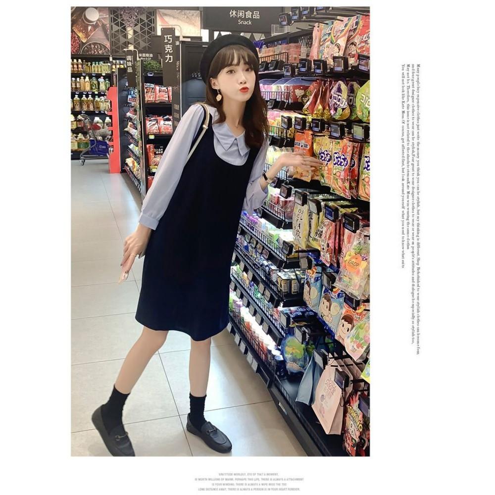 實拍 韓系 假兩件 背心裙 洋裝【D9205】翻領 拼接 假二件 襯衫洋裝