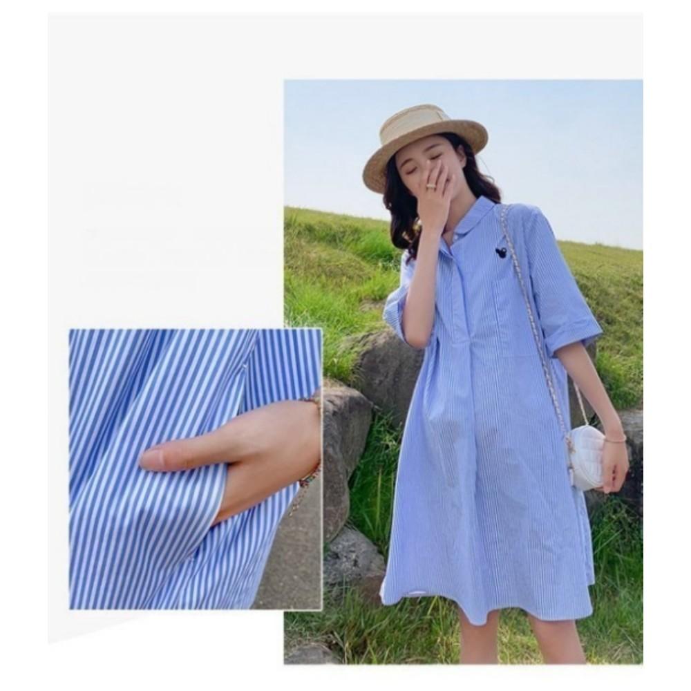 襯衫洋裝【D9206】 條紋 翻領 開扣 襯衫 洋裝 孕婦洋裝 孕婦裝