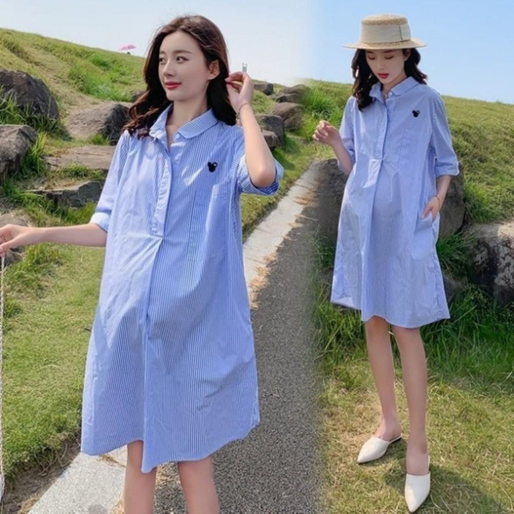 D9206 - 襯衫洋裝【D9206】 條紋 翻領 開扣 襯衫 洋裝 孕婦洋裝 孕婦裝