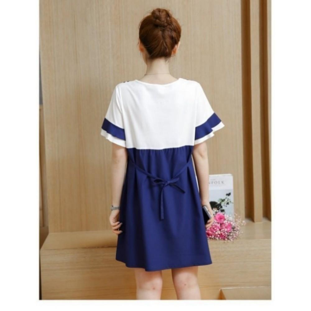 【D9212】韓國 撞色 喇叭袖 哺乳洋裝 短袖 孕婦洋裝 荷葉袖 孕婦裝 娃娃裝