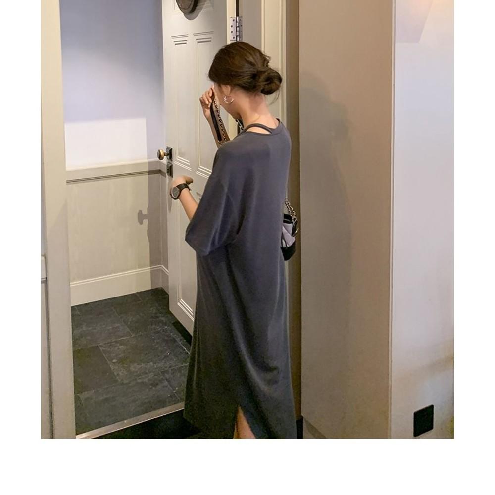 韓系 短袖 寬鬆 洋裝【D9240】短袖 V領 彈力 開叉 長裙 連衣裙 加大碼