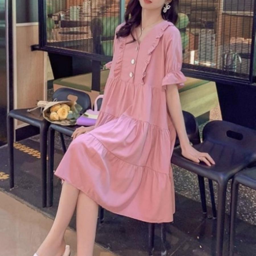 法系洋裝 【D9250】 短袖 V領 包袖 傘擺 鈕扣 公主袖 孕婦洋裝 孕婦裝