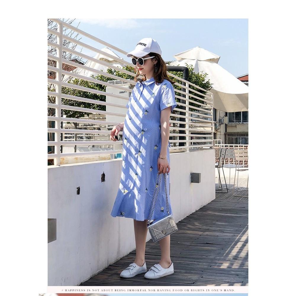 魚尾長裙 【D9292】 孕婦裝 L~XL 條紋 繡花 短袖 刺繡 魚尾洋裝 魚尾裙