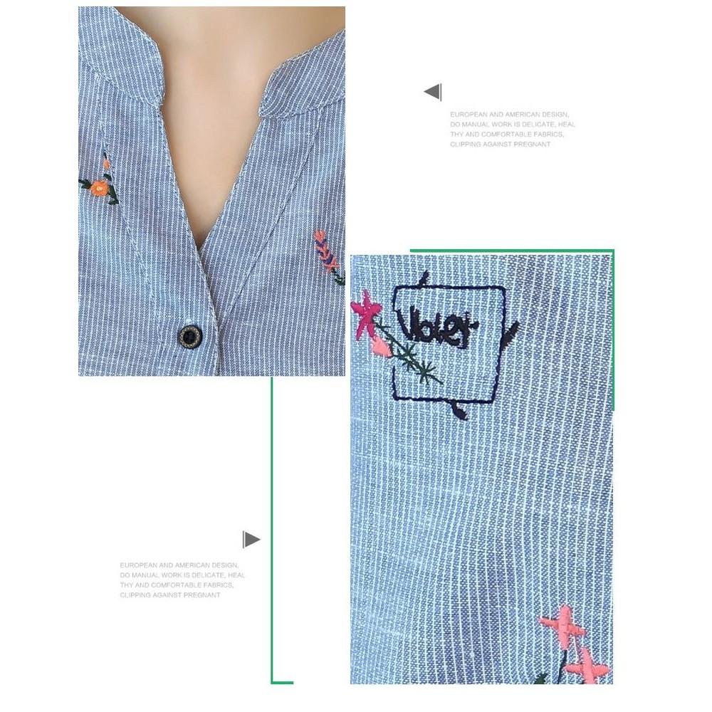 襯衫洋裝【D9312】 韓系 棉麻 條紋 長袖 刺繡 繡花 反摺袖 孕婦洋裝 孕婦裝
