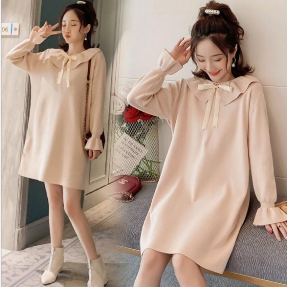 針織洋裝【D9319】 韓系 蝴蝶結 娃娃領 純色 長袖 毛衣 洋裝 孕婦裝 毛線裙