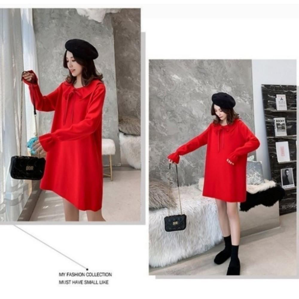 韓系針織洋裝【D9319】 蝴蝶結 娃娃領 純色 長袖 毛衣 洋裝 孕婦裝 毛線裙