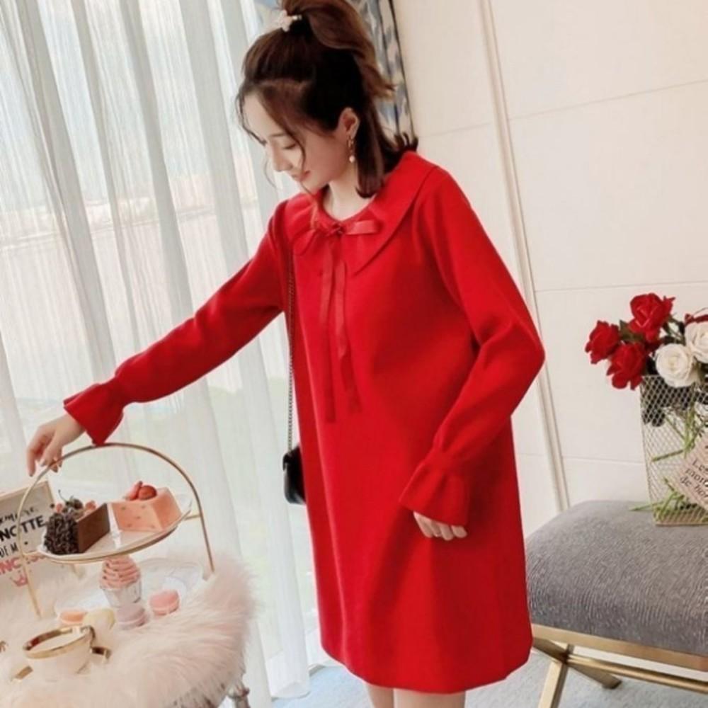 韓系針織洋裝【D9319】 蝴蝶 娃娃領 純色 長袖 毛衣裙 洋裝 毛線洋裝 毛線裙